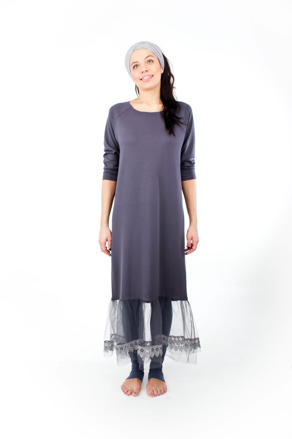 Mandala Lace Dress Indigo Grey 1