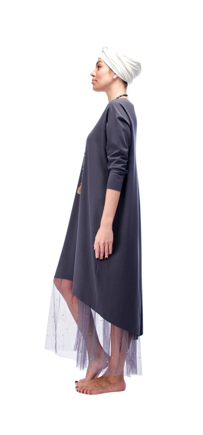 Indigo Grey Dress O/S 1