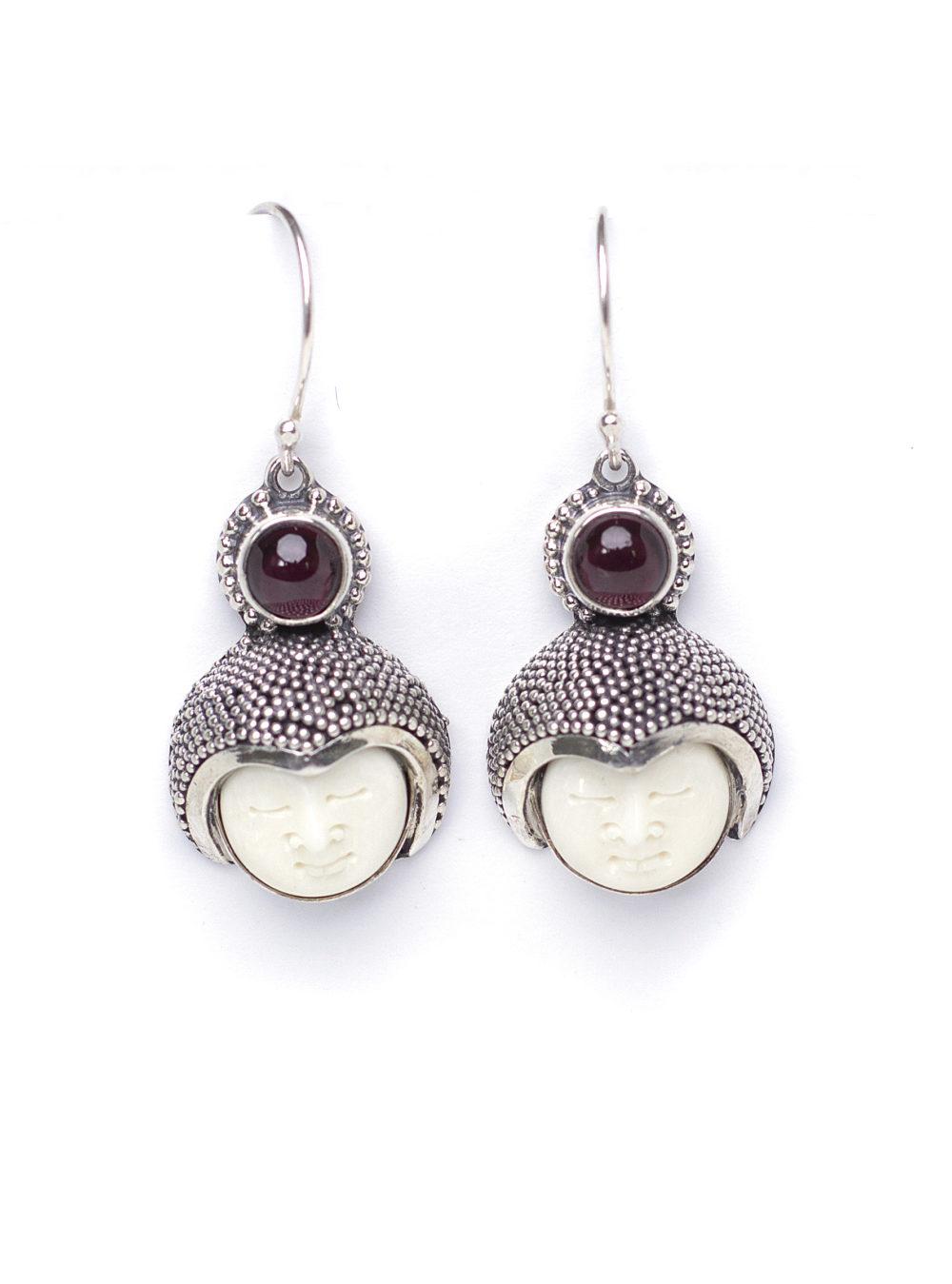 Moonface Garnet Earrings 1